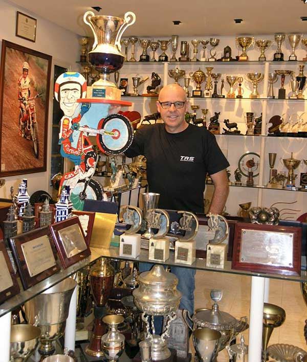 Jordi Tarres and a small selection of his trophy collection